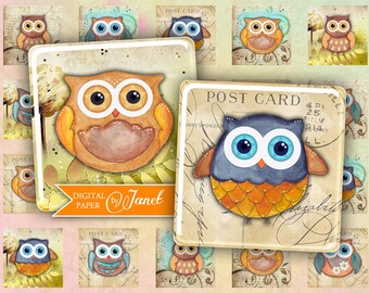 Owl - squares image - digital collage sheet - 1 x 1 inch - Printable Download