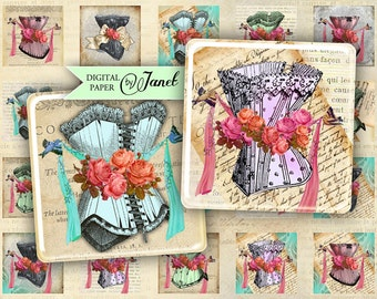 Old Time Fashion - squares image - digital collage sheet - 1 x 1 inch - Printable Download