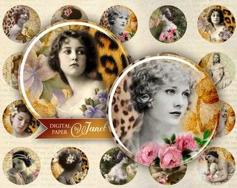 Retro Fashion - circles image - digital collage sheet - 1 x 1 inch - Printable Download