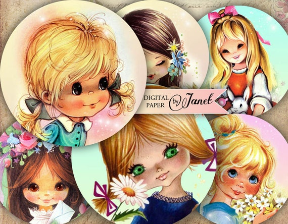 Little Girl - 2.5 inch circles - set of 12 - digital collage sheet - pocket mirrors, tags, scrapbooking, cupcake toppers