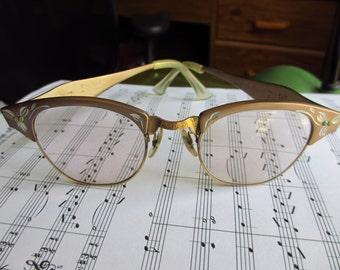 Vintage Women's 1950s Browline Eyeglasses Etched Aluminum