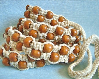 "Macrame Belt ""Bead by Bead..."", women's belt, knotted of cotton cord Made To Order"
