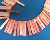 Mother of Pearl  Dyed Pink Shell  Bars 33x6x2mm 39 Bars or 8 Inch Strand for 3.45