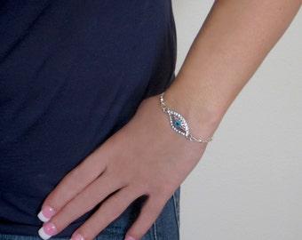 Evil eye bracelet, silver chain bracelet, turquoise eye bracelet, rhinestone evil eye