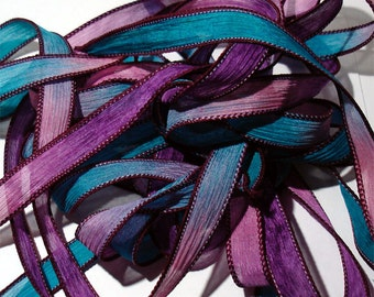 Serenity hand dyed 42 inch silk ribbon//Silk Wrist Wrap Ribbon// Silk Wrap Yoga Bracelet Ribbons//Silk Ribbons//By Color Kissed Silk LLC