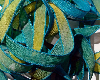 """Jester 42"""" hand dyed silk wrist wrap bracelet  ribbon//Yoga wrist wrap bracelet ribbons//Silk wrist wrap ribbon// By Color Kissed Silk"""