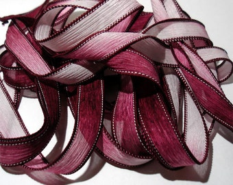 """Maroon 42"""" hand dyed wrist wrap bracelet silk ribbon//Yoga wrist wrap bracelet ribbons//Silk wrist wrap ribbon// By Color Kissed Silk"""