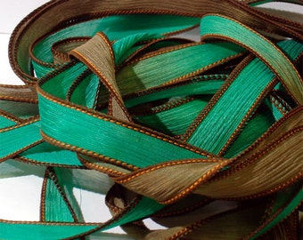 "Grasshopper 42"" hand dyed wrist wrap bracelet silk ribbon//Yoga wrist wrap bracelet ribbons//Silk wrist wrap ribbon// By Color Kissed"
