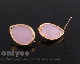 1pair/2pcs-11mmX14mmGold plated, Glass Tear drop, PGO, earrings, 92.5 sterling silver post-IcePink(M313G-B)