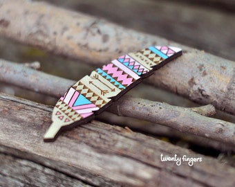 Pink & Blue Wood native brooch - feather (laser cut)