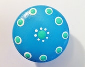 Dresser Knobs Hand Painted in Blue Turqouise and Green