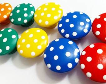 Polka Dot Dresser Knobs in Bright Primary Colors - Red, Green, Blue, Yellow, Orange and Purple