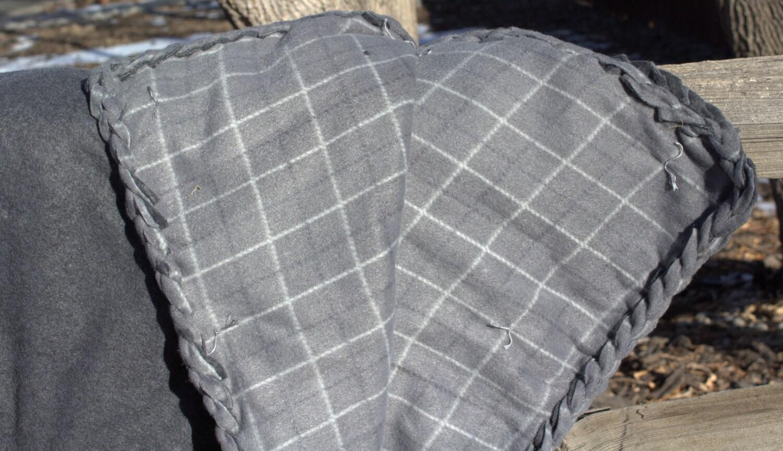 Grey Plaid Braided Fleece Blanket