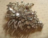 Art Decor glamours Swarovski rhinestones crystals wedding bridal hair comb