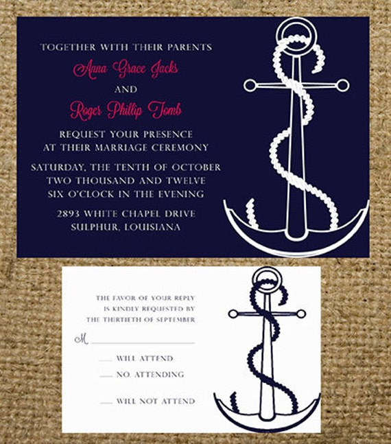 navy and white anchor beach cruise destination wedding invitation set wording colors and fonts