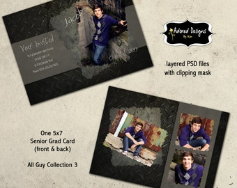 Graduation Card Photoshop Template Instant Download -  5x7 PSD Files - All Guy Collection 3, card 1