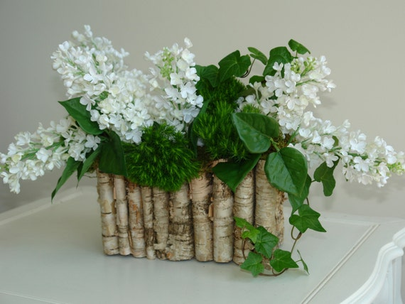 Birch Bark Wood Vases Flower Pot Rustic White Lilac By