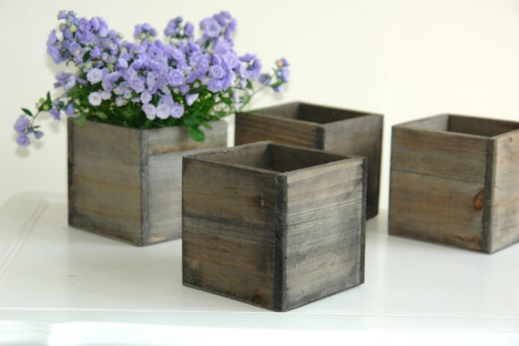Wood box wood boxes woodland planter flower rustic by - Wooden containers for flowers ...