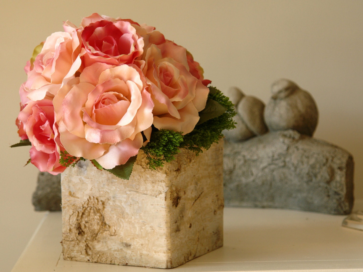 Birch bark wood vases boxes wedding table decor flower pot for Wood vases for centerpieces