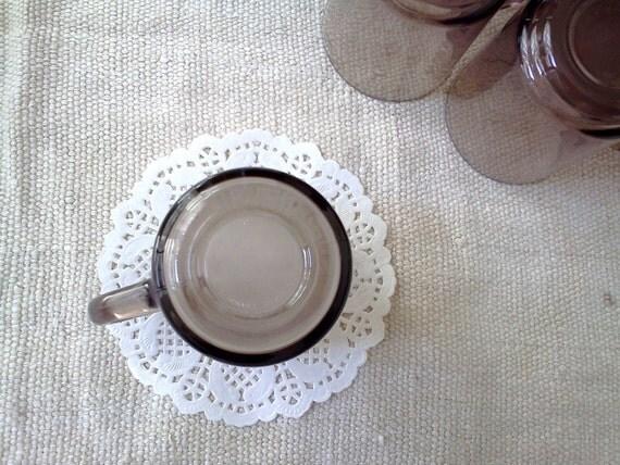 Vintage Mugs Arcoroc Smoked Brown Glass Set of Three