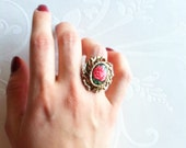 Red Rose Cloisonné Style Ring -Adjustable- Over Sized