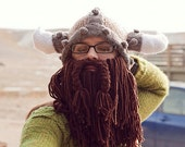 Knitted Viking Helmet with horns and detatchable beard