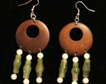 Green Brown Wood Beaded Earrings Dangle White