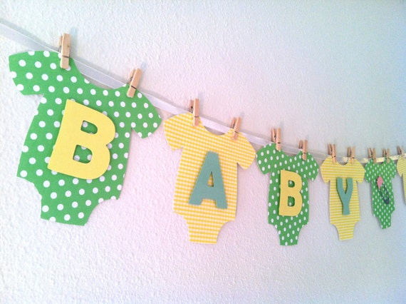 Baby OnePiece Bodysuit BABY SHOWER Banner Gender by BubblyNewYork