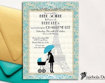 Paris Themed  Baby Shower Invitation (Design Fee)