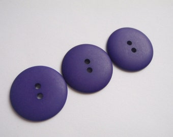3 Purple Large 2 Hole  Buttons 28mm Plastic