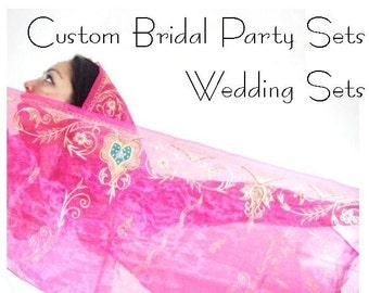 DEPOSIT Custom Bridal Set, Bridesmaid Gifts, Wedding Shawls, Wedding Party Scarves, Bridal Shawl, Bridal Wrap, Wedding Wrap
