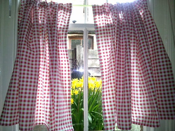 Shabby Chic Curtain Gingham Cafe Curtain Ready Made Curtain Kitchen Curtain  French