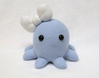 Stuffed plushie octopus toy with big bow