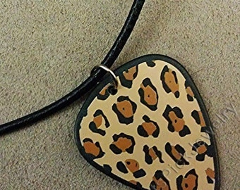 Girls Rock Black Brown and Beige Leopard Print Guitar Pick Necklace