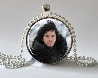 Jon Snow. Game of Thrones. House of Stark. Jon Snow Necklace. Jon Snow Pendant. Winter Is Coming. Art Pendant. Glass Dome Pendant. 055