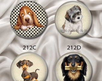 "Dogs and Puppies - Interchangeable Magnetic Design Inserts - FIT Clique and Magnabilities 1"" Pendant Jewelry Bases...212"