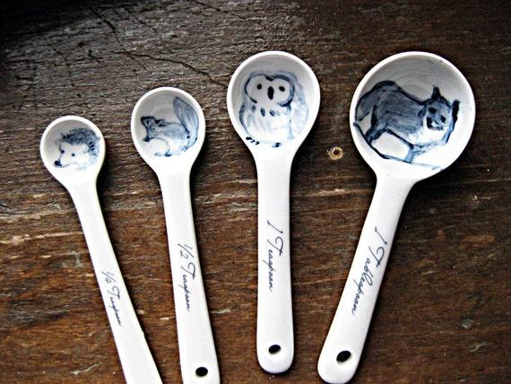 Forest Animal Ceramic Measuring Spoons