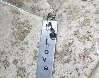 Birthstone Crystal and hand stamped Metal Recycled Charm Ball Chain necklace