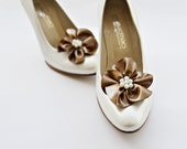 Taupe Vinyl Like Fabric Flower Shoe Clips