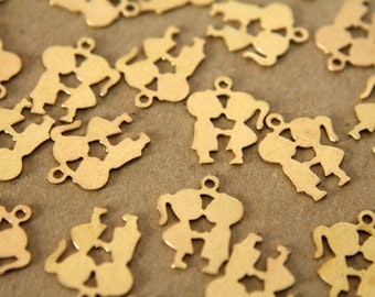 8 pc. Small Raw Brass Kissing Cousins Charms: 17.5mm by 16mm - made in USA | RB-129