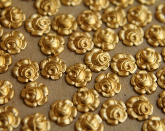 14 pc. Tiny Raw Brass Roses: 7mm diameter - made in USA   RB-168