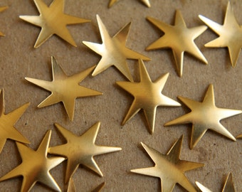 12 pc. Small Raw Brass Star Bursts: 16mm by 13mm - made in USA | RB-170