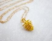 Gold Pinecone Charm Neckl...