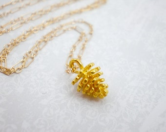 Gold Pinecone Charm Necklace, Gold Filled Chain, Nature Charm, Wedding Necklace, Bridal Jewelry, inv32