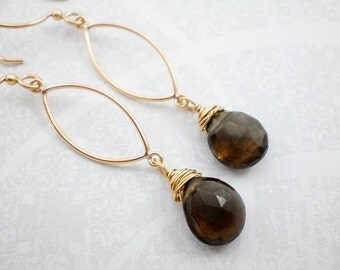 Brown Quartz Earrings, Gold Earrings, Long Dangle Earrings, Smokey Quartz Gold Earrings