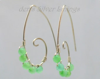 Handcrafted Silver Swirl Earrings, Green Jade, Hammered Sterling Siliver Ear Wires