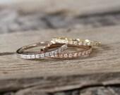 1.6 mm Handmade Skinny Half Eternity Diamond Stacking Ring in 14K Gold