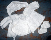Vintage Baby Clothes,  Baby Bonnet, Sweater Set, White, Crochet, Booties