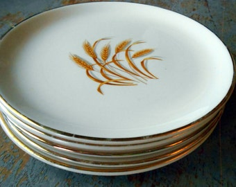 Vintage Plates, Golden Wheat, Bread Plates, 22 k Gold, Oven Proof, Saucer, Small, Snack Plates, Cake Plates