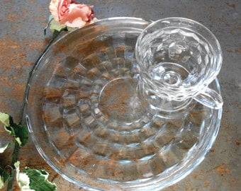 Vintage Snack Set, Clear Glass, White Hall, Plates, Cups, Serving Set, Snack Plates, Geometric, Set of Four